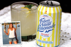 Woman with canned cocktail image pasted over photo of canned cocktail in a rocks glass
