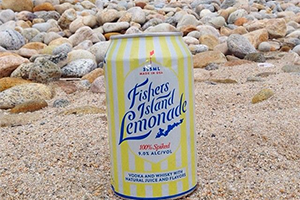 Fishers Island Lemonade can on a beach