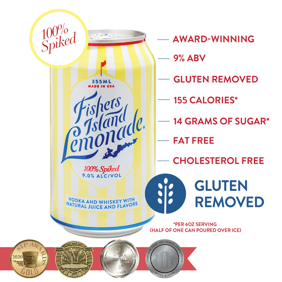 fishers island lemonade canned cocktail with ingredients and awards listed