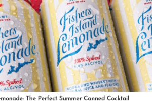 cans of fishers island lemonade with condensation and a red background