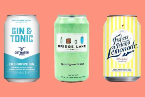 Graphic of canned cocktails Fishers Island Lemonade, Cutwater Spirits, and Bridge Lane canned wine
