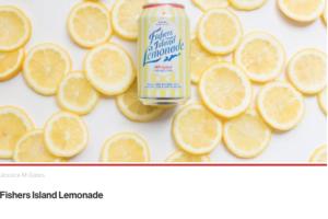 Fishers Island Lemonade can in front of lemon wheels